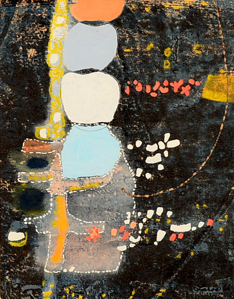 Mark Rothko Powder Blue Mixed Collage Modern Abstract Art by Fred LAROS 1966 NYC Funky Art