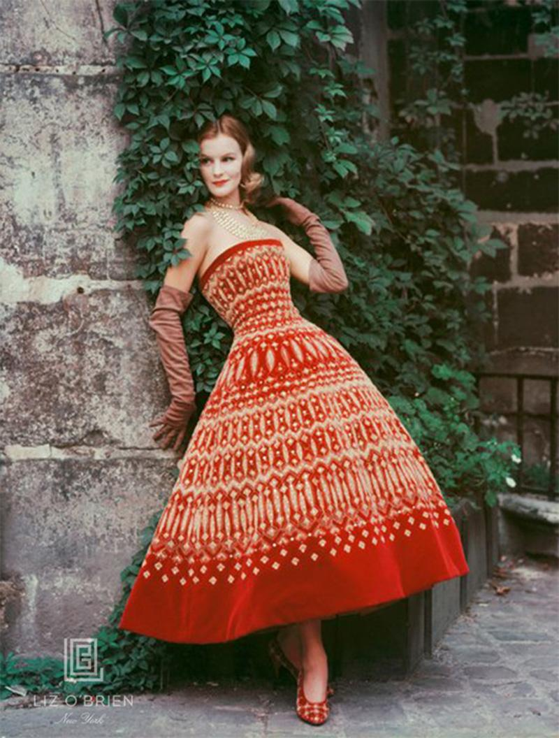 Mark Shaw Dior Red Dress with Lavish Gold Embroidery
