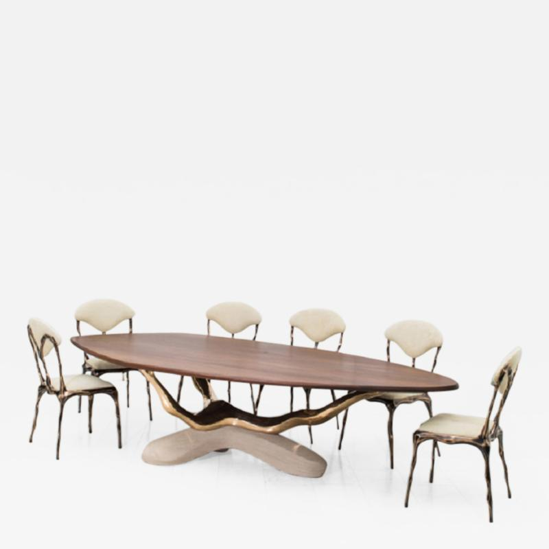 Markus Haase Markus Haase Bronze Walnut and Limestone Dining Table USA 2018