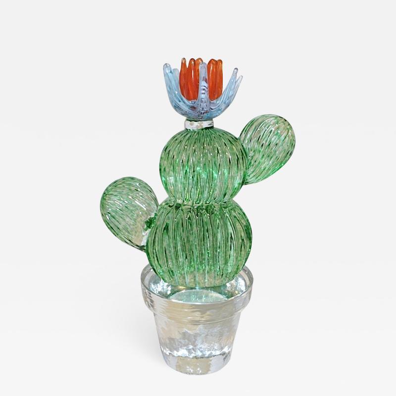 Marta Marzotto 1990s Marta Marzotto Vintage Murano Glass Green Cactus Plant Blue Coral Flower