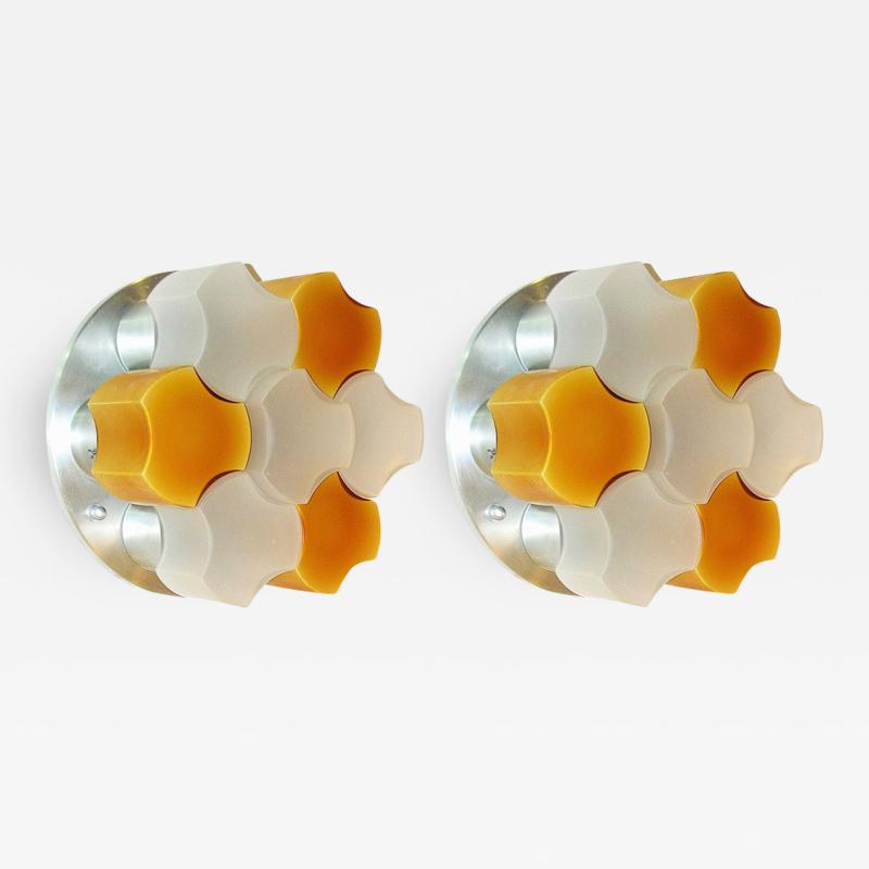 Martinelli Luce Martinelli Luce 1963 Rare Pair of White and Orange Glass Wall or Flush Lights