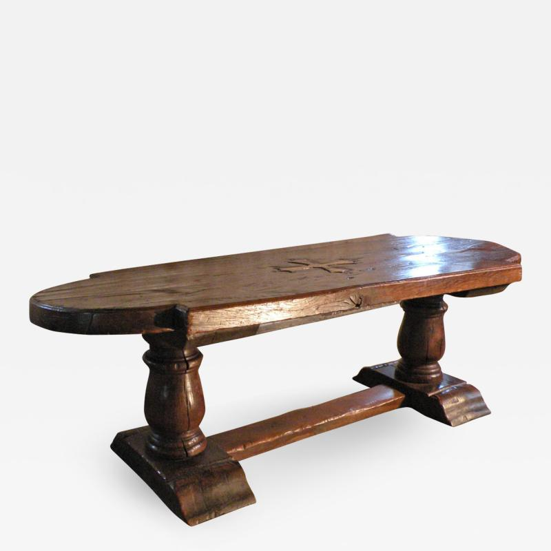 Massive 19th Century French Elm and Oak Trestle Table