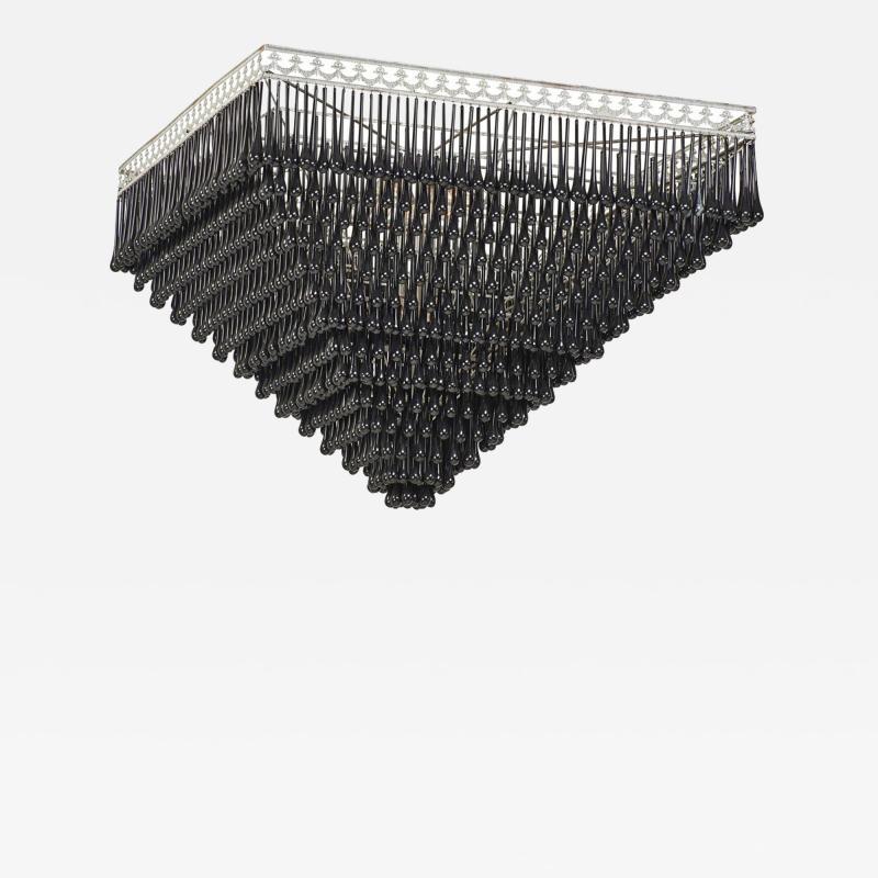 Massive Pyramid Form Black Murano Glass Chandelier