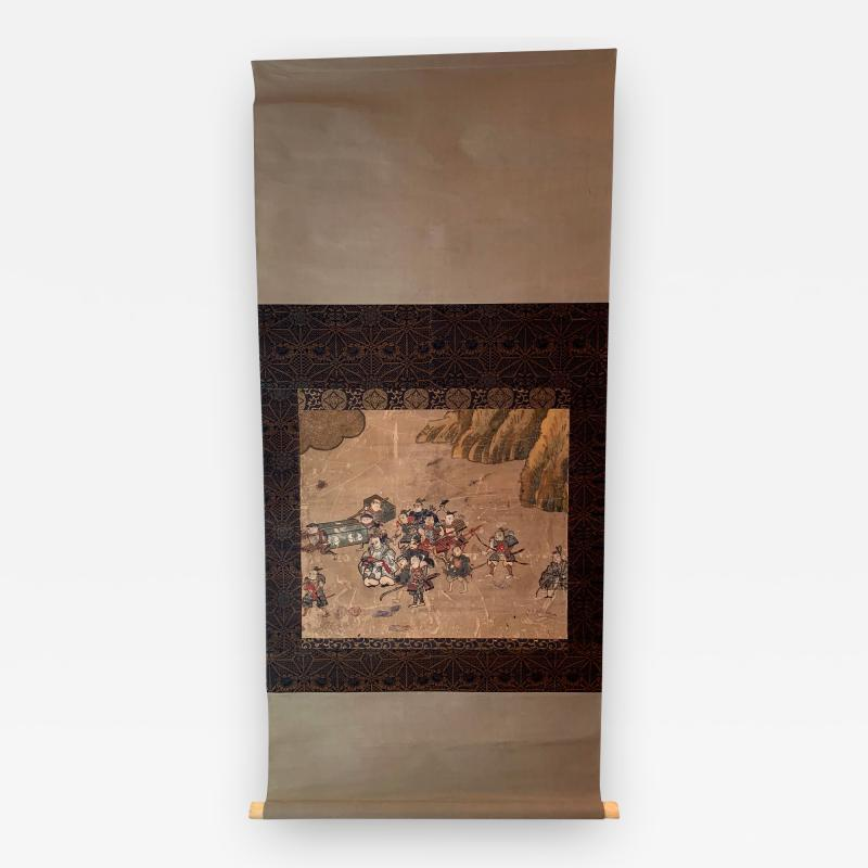 Matabei Iwasa Antique Japanese Hanging Scroll Attributed to Iwasa Matabei