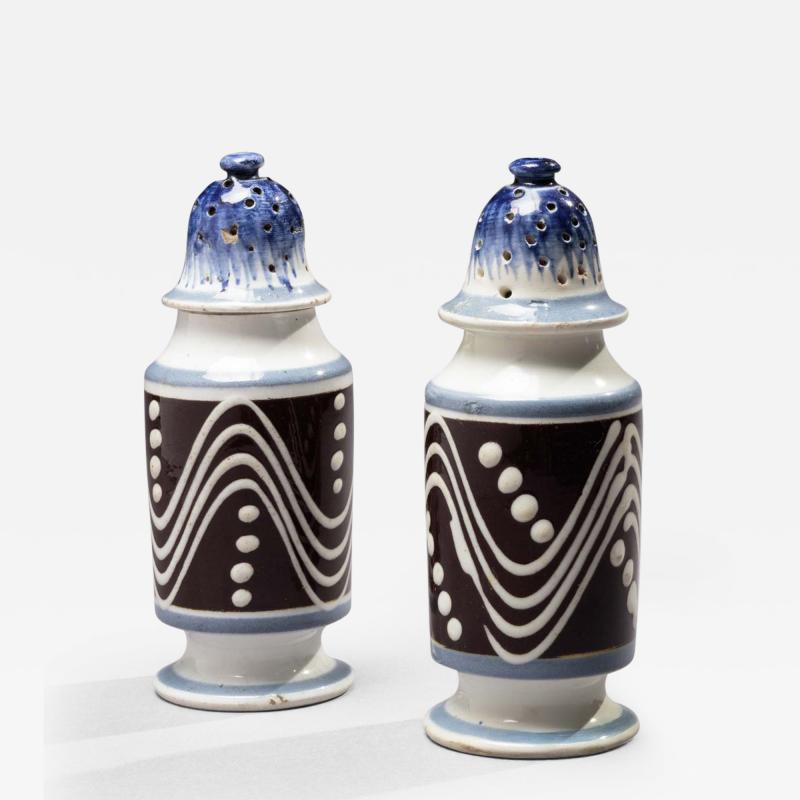 Matched Pair of Cylinder Form Mochaware Pepper Pots