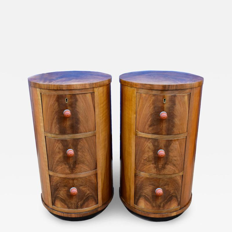 Matching Pair of Art Deco Oval Shaped Bedside Cabinet Tables Circa 1930
