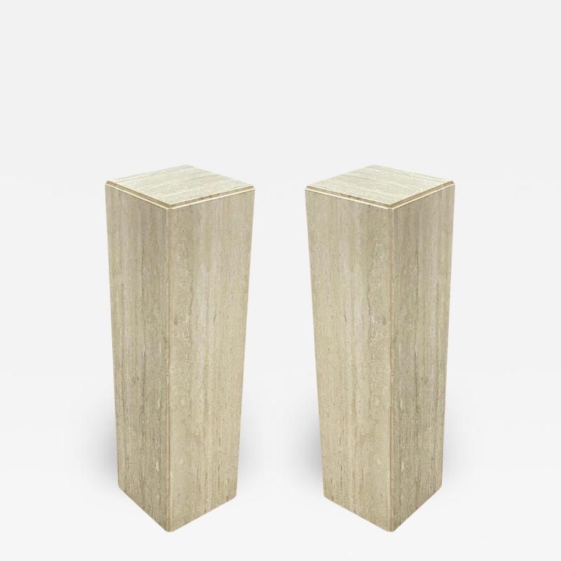 Matching Pair of Mid Century Italian Post Modern Travertine Marble Pedestals