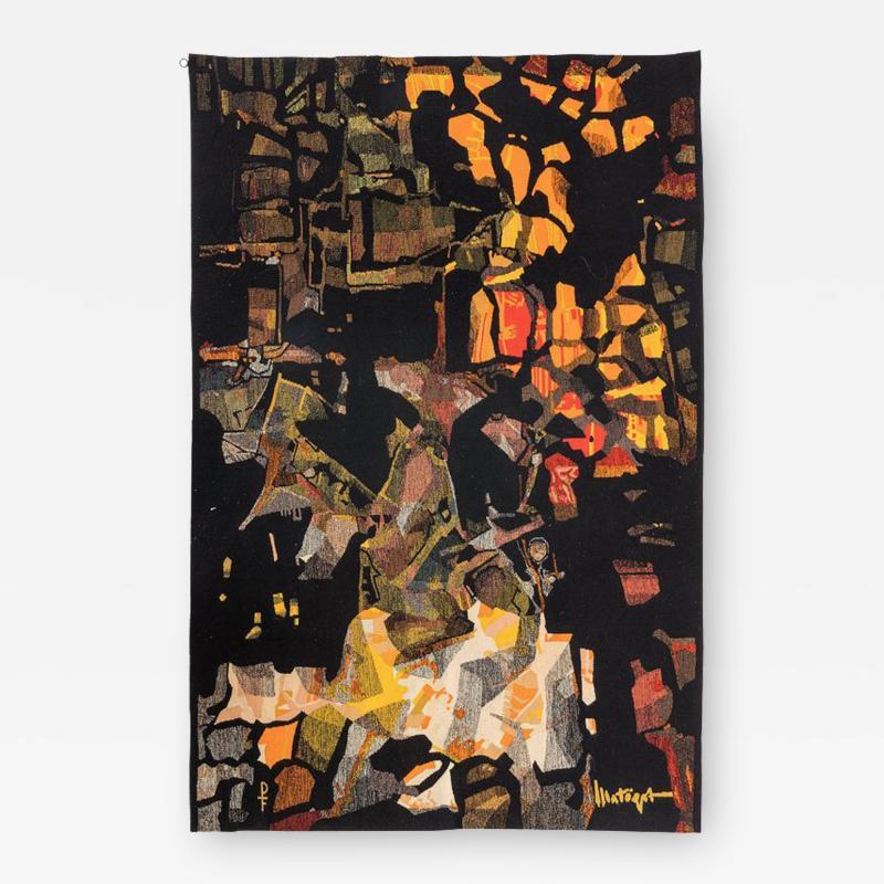 Mathieu Mat got Mathieu Mat got Signed Aubusson Tapestry for Pinton France 1960s