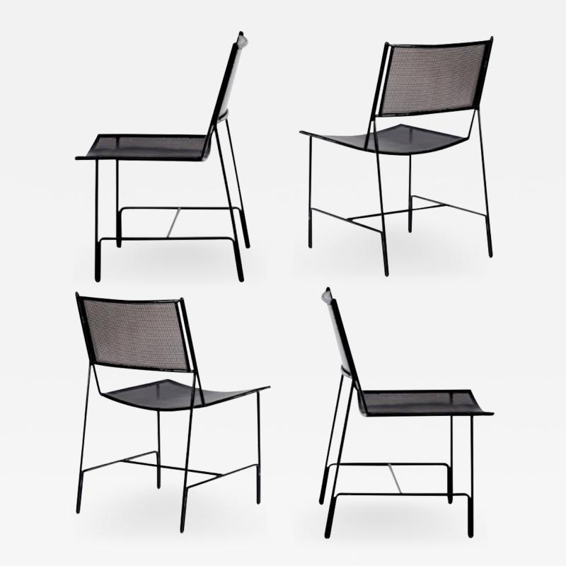 Mathieu Mat got Mathieu Mategot rarest set of 4 black chairs documented model Panamera