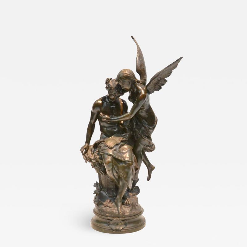 Mathurin Moreau Le R ve du Po te Monumental Fine Quality Patinated Bronze Sculpture
