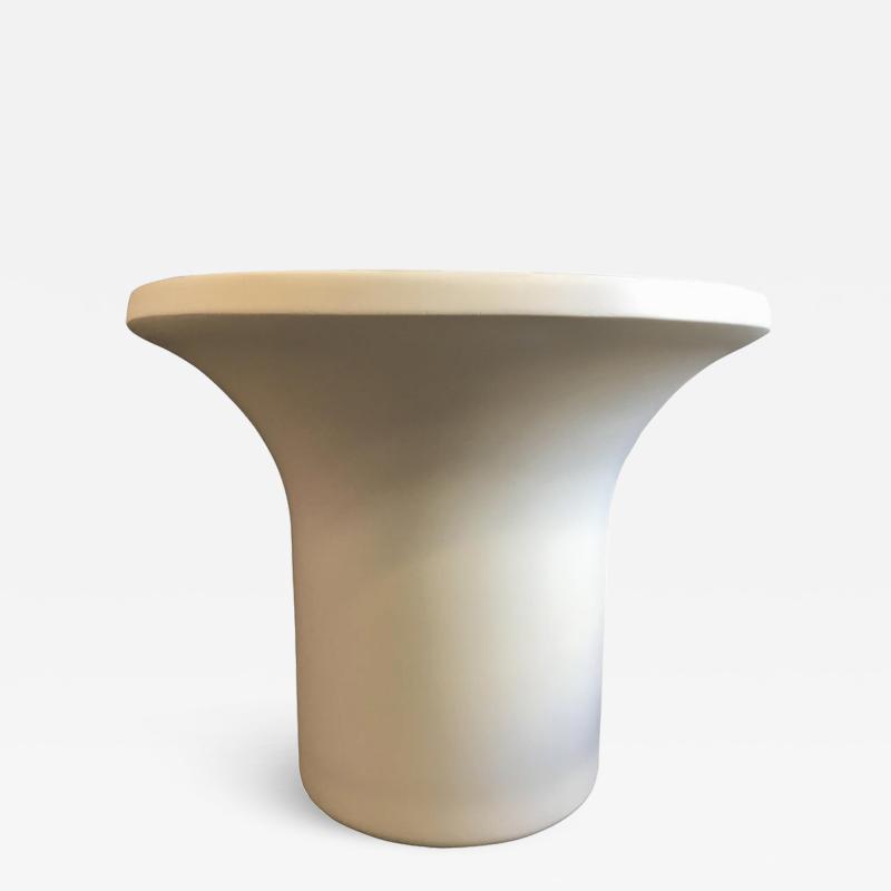 Matte White Circular Fiberglass Side Table