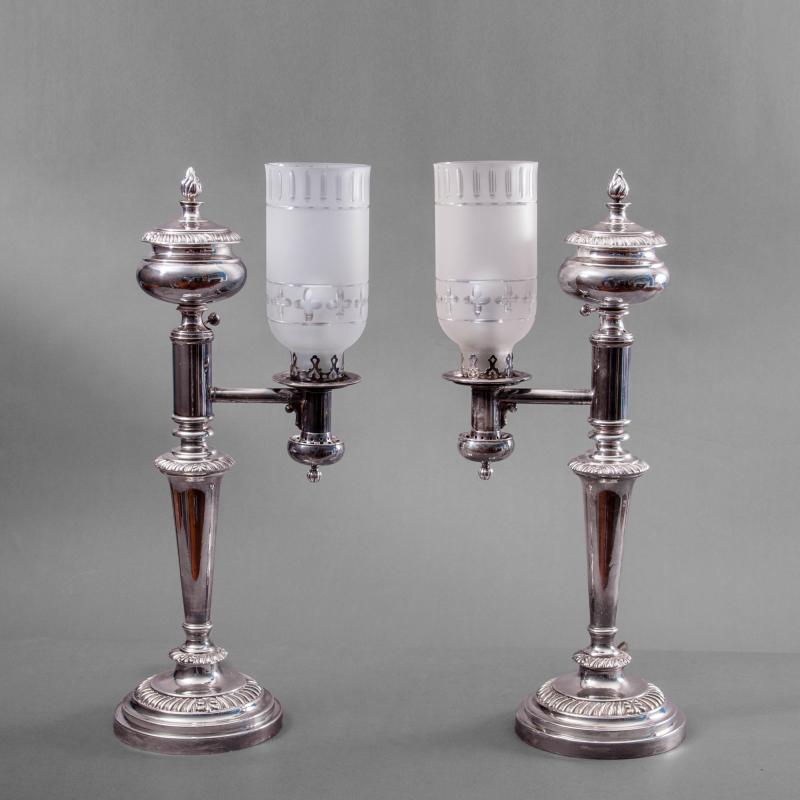 Matthew Boulton Pair of Very Rare Sheffield Plate Argand Lamps