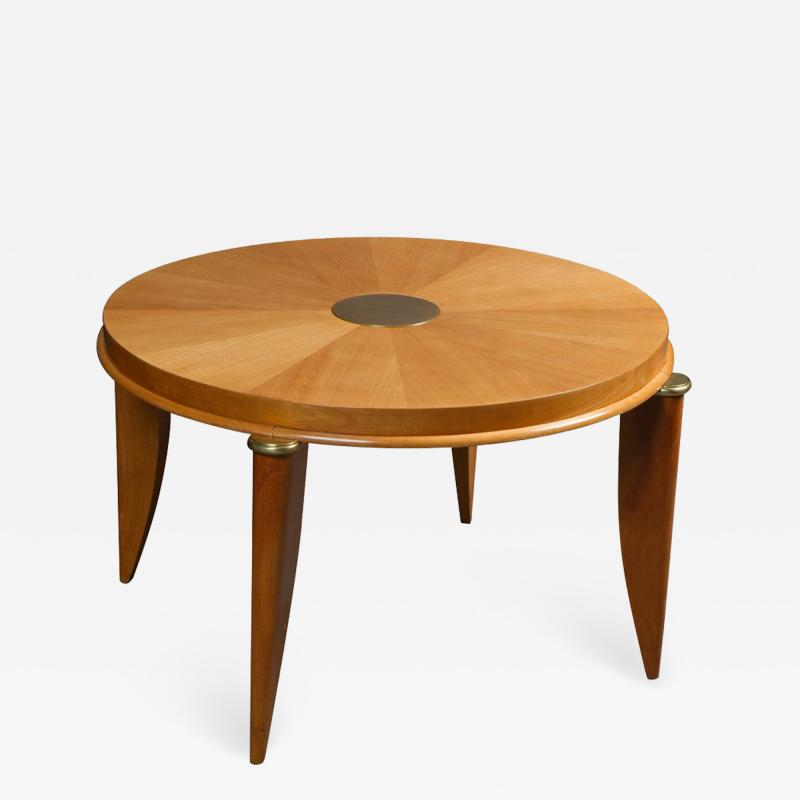Maurice Jallot Ash radial veneer art deco coffee table by Maurice Jallot