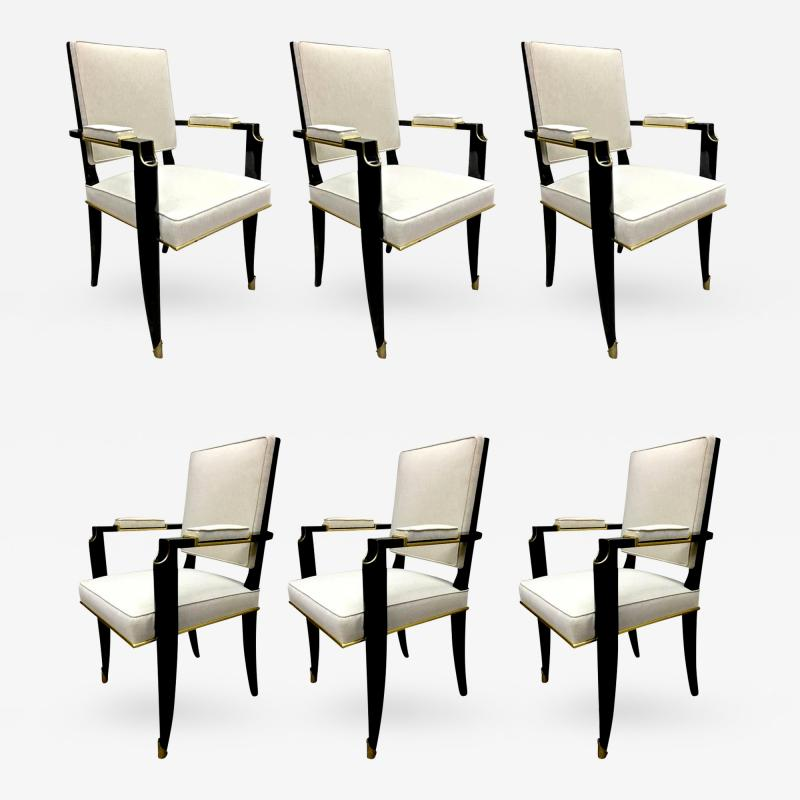 Maurice Jallot Maurice Jallot Set of 6 Chicest Black Chairs with Gold Bronze Details