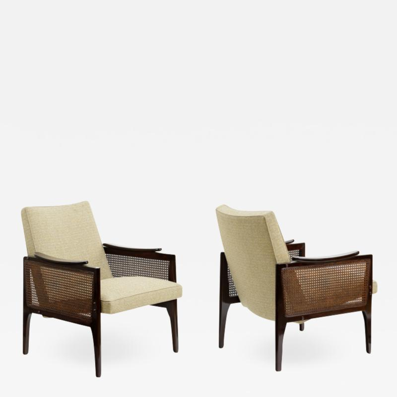 Maurice Jallot Maurice Jallot pair of refined caned arm chair