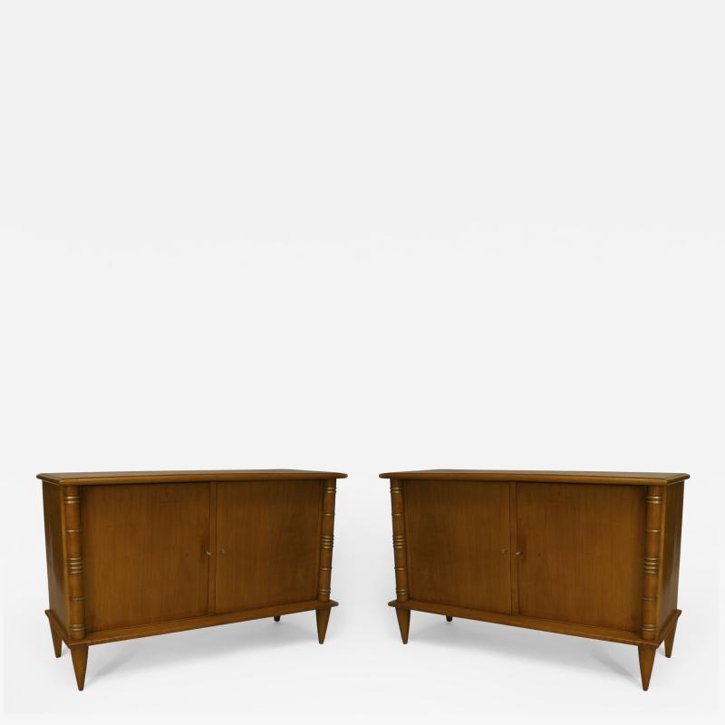 Maurice Jallot Pair of French Art Deco Sycamore Commodes