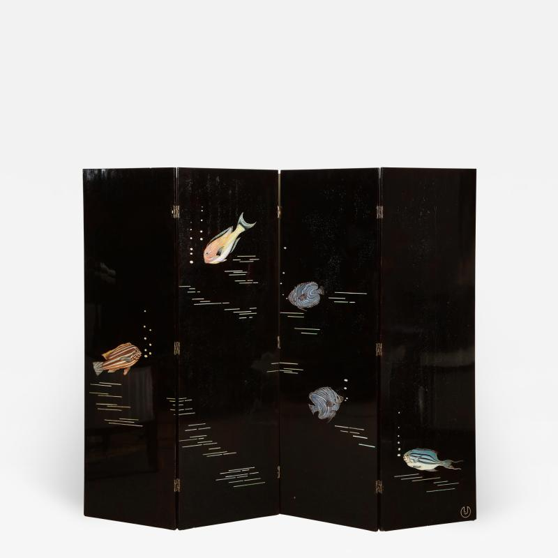 Maurice Jallot Poissons Lacquer Screen by Jallot