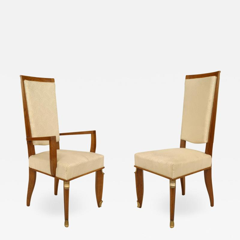 Maurice Jallot Set of Eight French Mid Century Oak and White Silk Dining Chairs