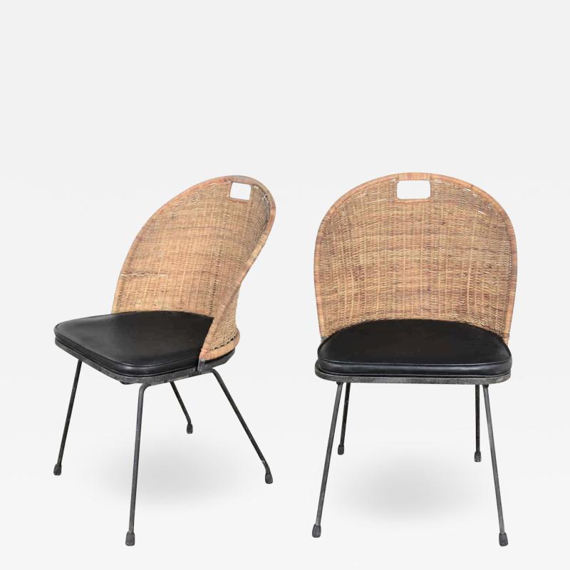 Maurizio Tempestini MCM iron wicker pair of neva rust chairs by maurizio tempestini for salterini