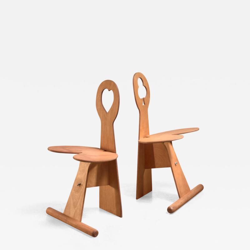 Max Gottschalk Max Gottschalk pair of maple and plywood chairs