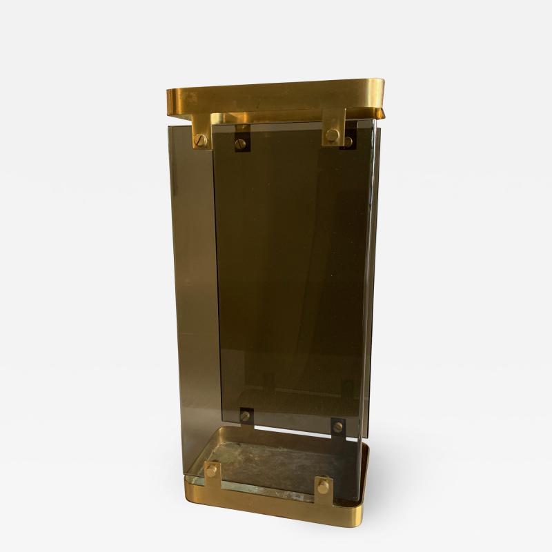 Max Ingrand Glass Brass Umbrella Stand By Max Ingrand For Fontana Arte 1960s