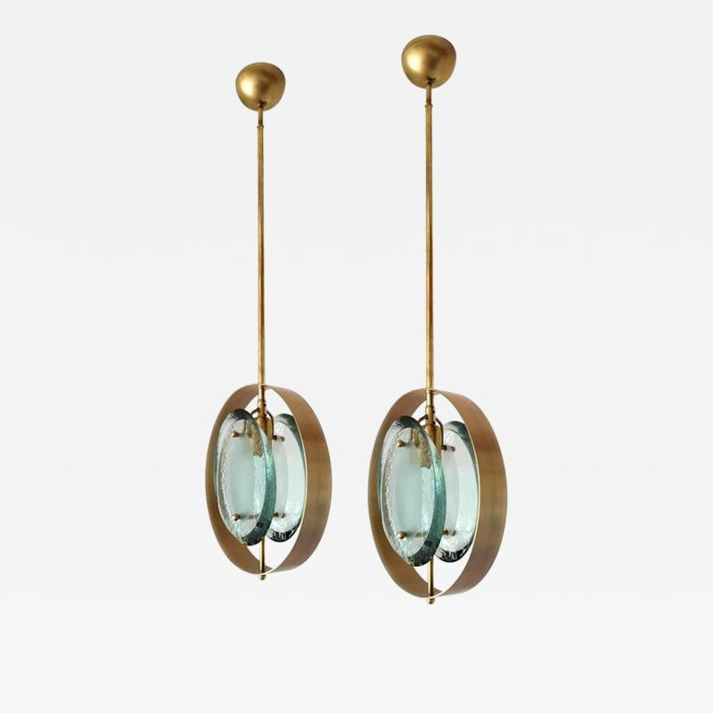 Max Ingrand Mid Century Brass Green Murano Glass Pendants Max Ingrand Fontana Arte style