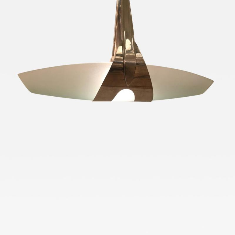 Max Ingrand Nickeled Brass Ceiling Pendant by Max Ingrand for Fontana Arte Italy circa 1950