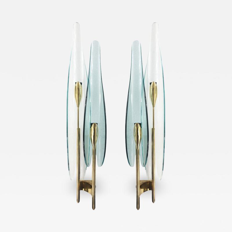 Max Ingrand Pair of Green Dalia Sconces by Max Ingrand for Fontana Arte
