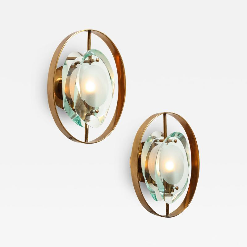Max Ingrand Pair of Wall Sconces 2240 by Max Ingrand for Fontana Arte