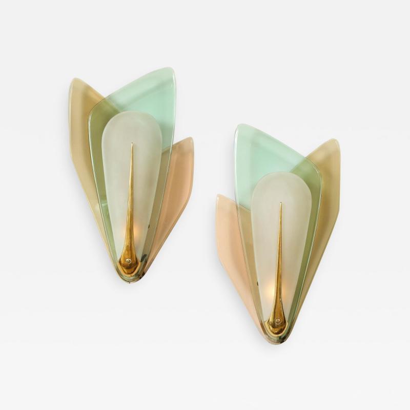 Max Ingrand Rare pair of Sconces by Max Ingrand for Fontana Arte