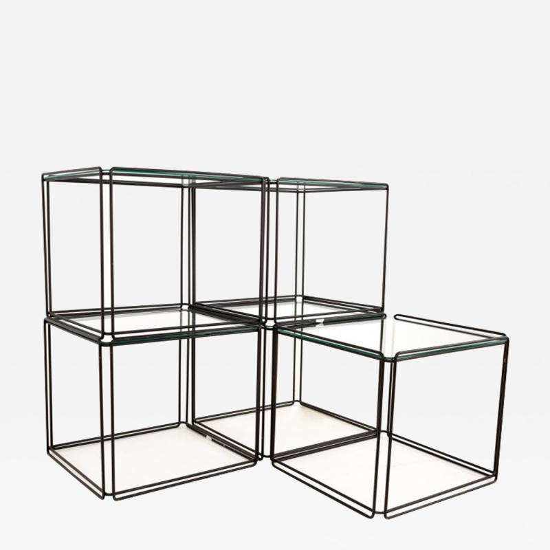 Max Sauze Max Sauze Isoceles Iron and Glass Stacking Side End Tables Set of 5