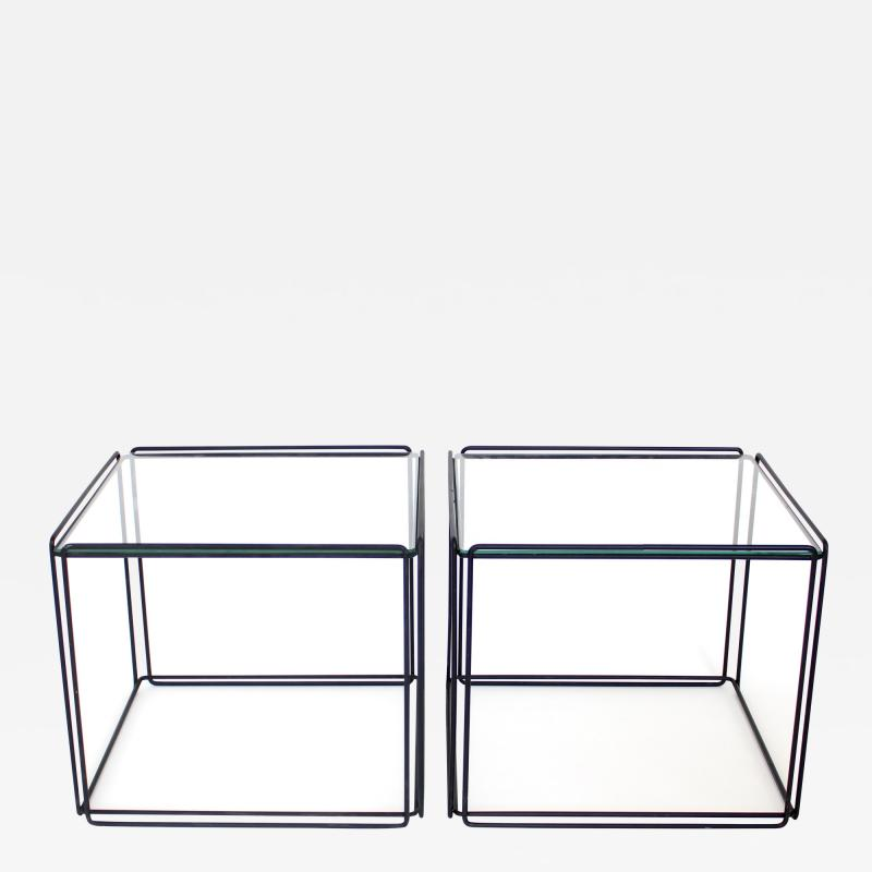 Max Sauze Pair of Max Sauze Isoceles Black Metal and Glass Side Tables or Coffee Tables