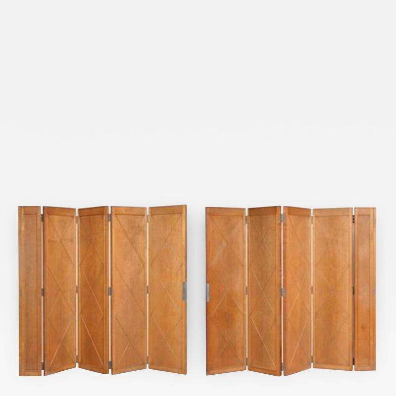 Maxime Old Elegant Pair of Sycamore Folding Screens by Maxime Old
