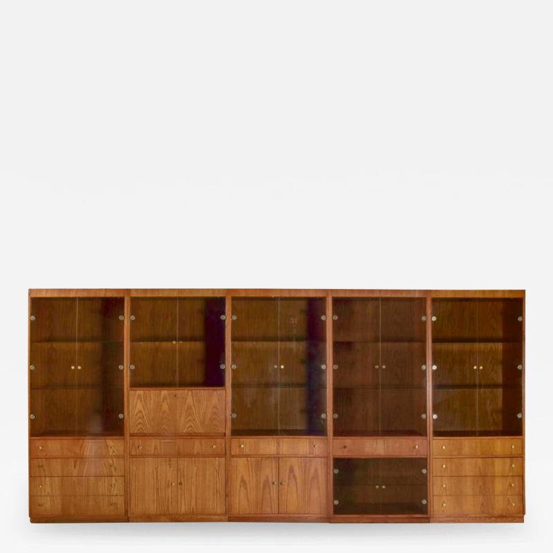 Mcm hooker 5 section oak veneer display cabinet wall unit