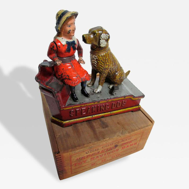 Mechanical Bank Speaking Dog ca 1885 with Original Wooden Box