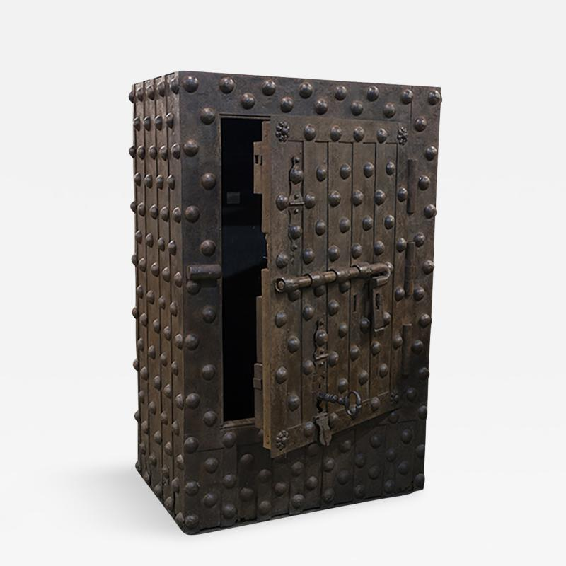 Medium Size Steel Hobnail Safe With Heavy Riveting from Northern Italy