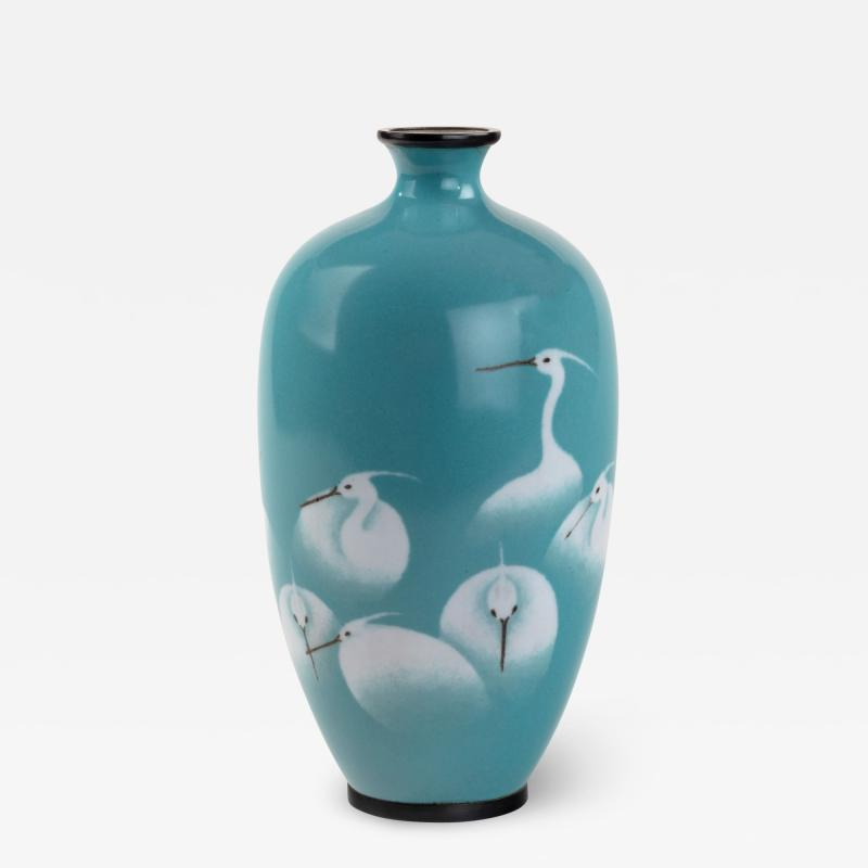 Meiji period cloisonn vase with a flock of white egrets