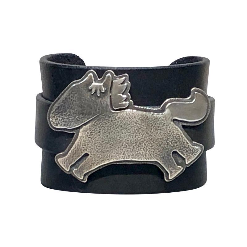 Melanie A Yazzie Beverly Hills Yazzie black leather and sterling silver cuff bracelet