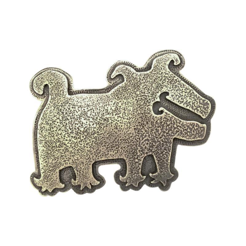 Melanie A Yazzie Rez Dog Silver Pendant