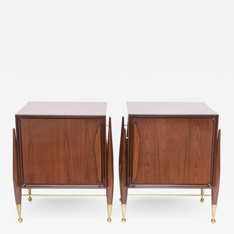 Melchiorre Bega Pair Italian Modern Walnut and Bronze Bedside Tables