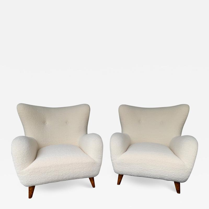 Melchiorre Bega Pair of Italian Armchairs by Melchiorre Bega Italy 1950s