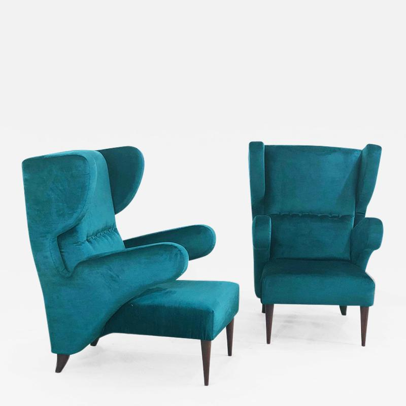 Melchiorre Bega Pair of Italian armchairs renovated 50 years original