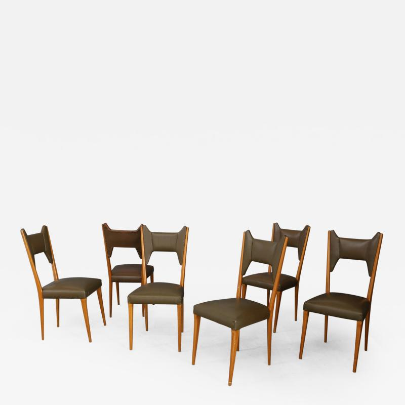 Melchiorre Bega Set of 6 Melchiorre Bega chairs from 1950