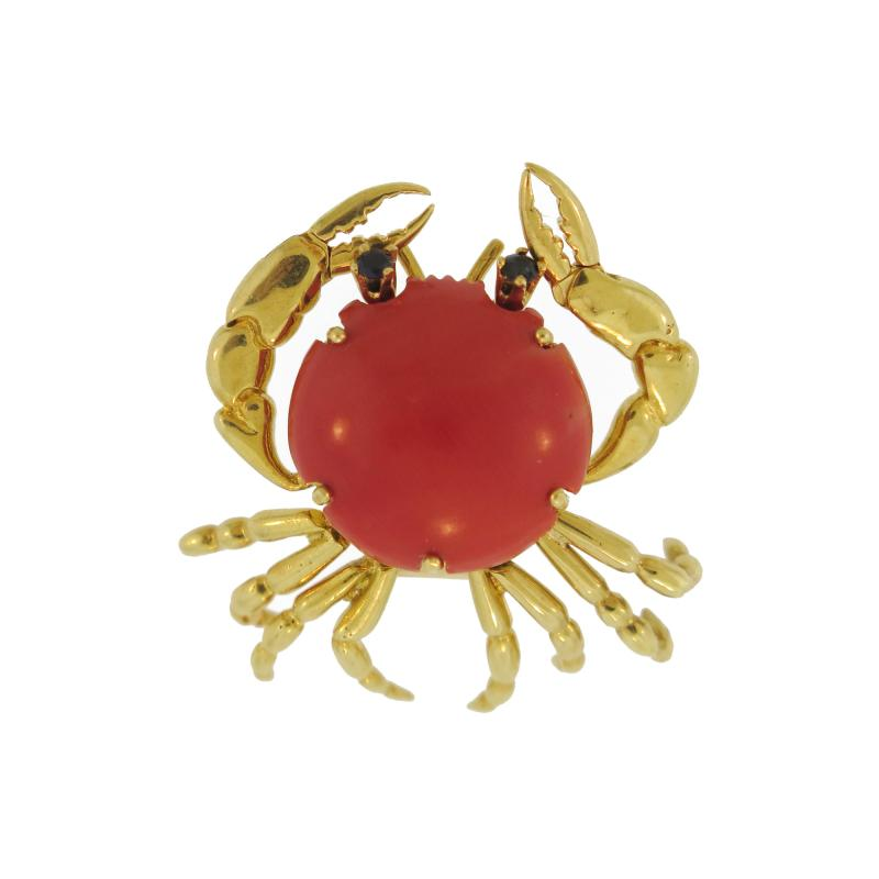 Mellerio Coral and Gold Crab Brooch