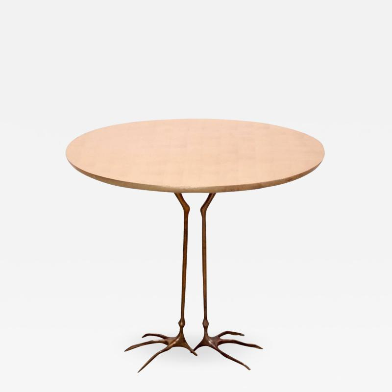 Meret Oppenheim Early Bronze and Gold Leaf Wood Traccia Coffee Table by Meret Oppenheim