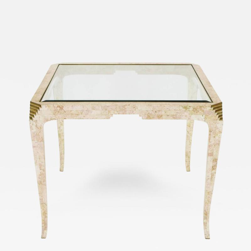 Merle James Edelman Casa Bique Tessellated Coral and Brass Game Table