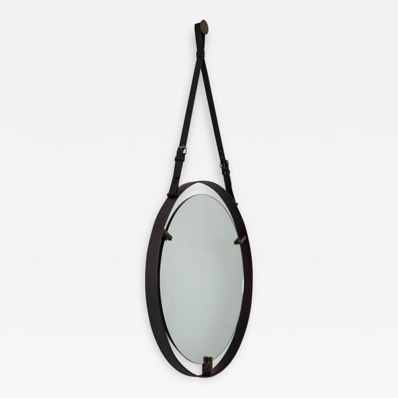 metal and leather round hanging mirror. Black Bedroom Furniture Sets. Home Design Ideas