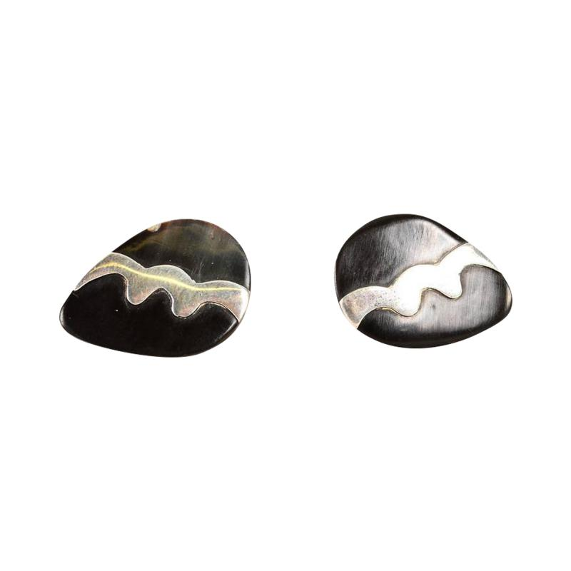 Mexican Modernist Cufflinks Silver and Onyx Taxco Sterling