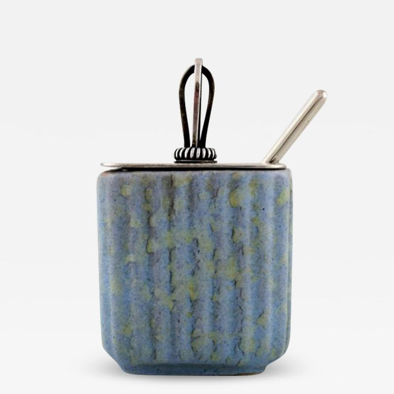 Michael Andersen Marmelade jar in ceramics fluted style with plated silver lid and silver spoon