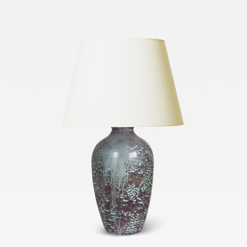 Michael Andersen Sons Plum and Celadon Craquelure Glaze Lamp by Michael Andersen Sons